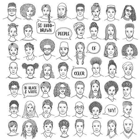 Set of fifty hand drawn diverse faces, b&w portraits of people of color, men and women of African, Asian, Arab and Latin American descent Фото со стока - 107283261