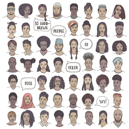 Set of fifty hand drawn diverse faces, colorful portraits of people of color, men and women of African, Asian, Arab and Latin American descent