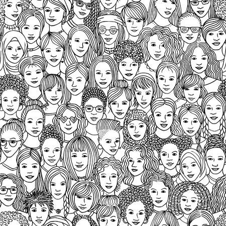 Femmes - modèle sans couture dessiné à la main d'une foule de femmes différentes de diverses origines ethniques en noir et blanc Vecteurs