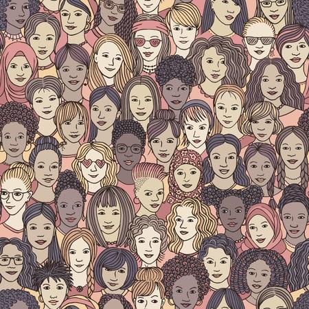 Mujeres: patrones sin fisuras dibujados a mano de una multitud de diferentes mujeres de diversos orígenes étnicos