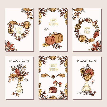 Set of six hand drawn mini cards for autumn  fall, design template with seasonal flowers, leaves and plants