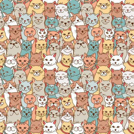 Seamless pattern of hand drawn cats Stock Vector - 108039817