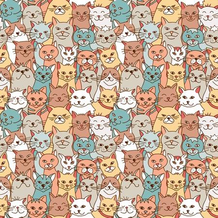 Seamless pattern of hand drawn cats