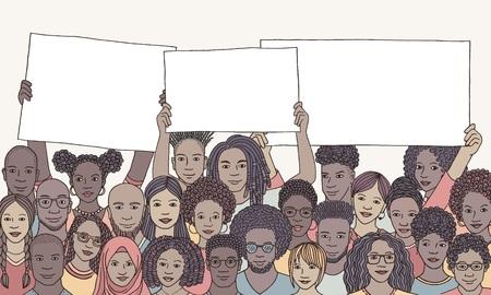 Gruppo eterogeneo di persone di colore che tengono i segni vuoti