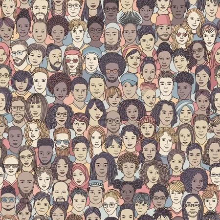 Diverse menigte van mensen - naadloos patroon van 100 handgetekende gezichten van verschillende etniciteiten
