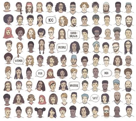 Set mit 100 handgezeichneten Gesichtern, farbenfrohen und vielfältigen Porträts von Menschen verschiedener Ethnien