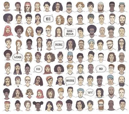 Set of 100 hand drawn faces, colorful and diverse portraits of people of different ethnicities Ilustração