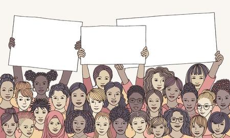 빈 표지판을 들고 여성의 다양한 그룹