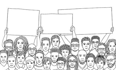 Black and white ink illustration of a diverse group of men holding empty signs Ilustração