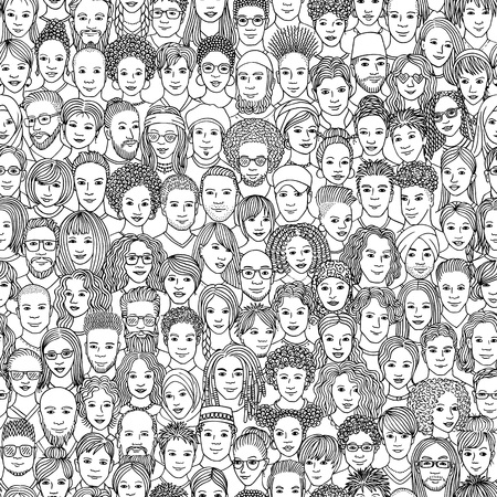 Seamless pattern of 100 hand drawn faces of various ethnicities in black and white