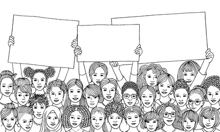 Black and white ink illustration of a diverse group of women holding empty signs