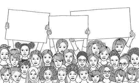 Zwart-witte inktillustratie van een diverse groep vrouwen die lege tekens houden