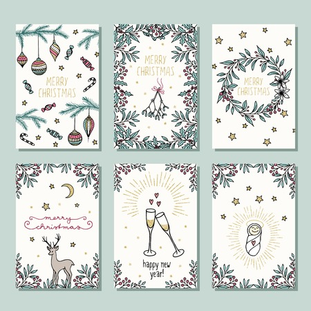 Set of six colorful Christmas cards, design template with Christmas florals, champagne glasses and holiday decoration