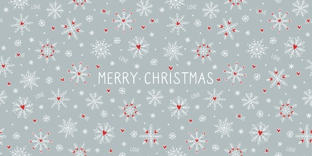 Christmas card template or banner with cute hand drawn snowflakes and little red hearts