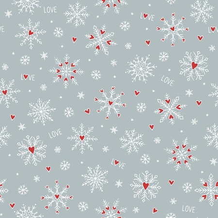 Seamless pattern with cute hand drawn snowflakes and little red hearts