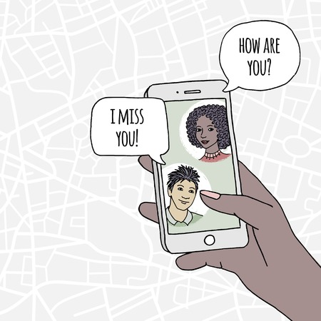 Young couple chatting via social media on their smartphone, concept displaying instant messaging, human hand holding smartphone