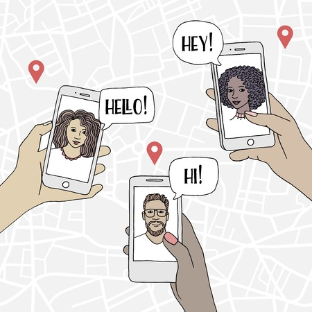 Diverse people holding their smartphone and chatting with friends, loved ones, or via an internet dating site Illustration