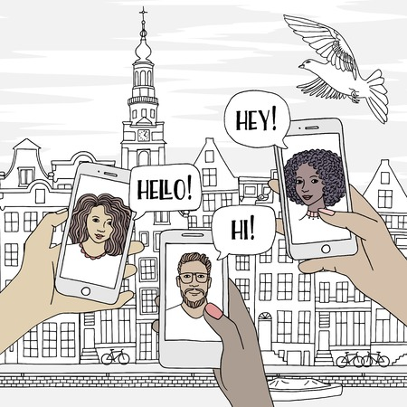 Young people travelling through Europe, chatting with their friends via smartphone, with an illustration of Amsterdam in the background