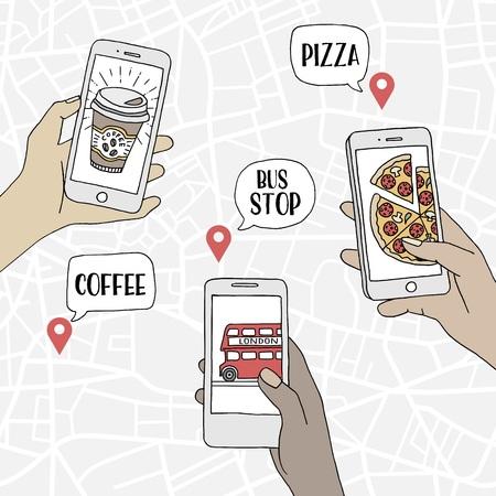 Un grupo de personas que usan sus teléfonos inteligentes para encontrar restaurantes y transporte público, ilustración dibujada a mano con un patrón de mapa en el fondo Ilustración de vector