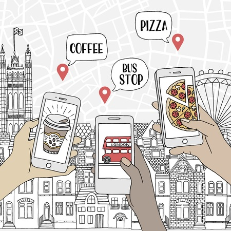 Young travellers holding their smartphones, searching for restaurants and public transport stations in London, UK Ilustração