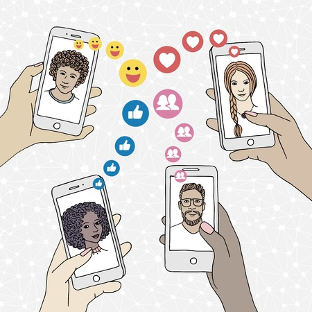Diverse people holding their smartphone, friends who like their posts, displaying social media icons