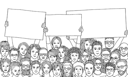 Group of people holding empty signs Stock Illustratie