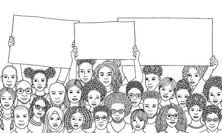 Grupo diverso de personas con carteles vacíos.