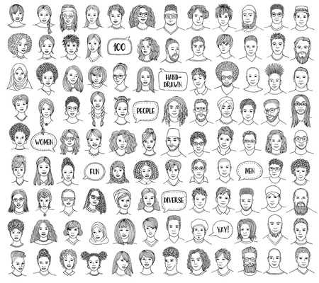 Set of 100 hand drawn faces, diverse portraits of people of different ethnicities