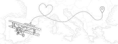 Ilustración dibujada a mano de un avión vintage con ruta punteada en forma de corazón, volando sobre un mapa de países europeos