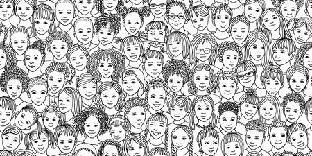 Diverse group of children - seamless banner of 70 different hand drawn kids faces, kids and teens of diverse ethnicity