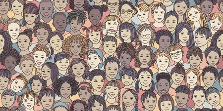 Diverse group of children - seamless banner of 70 different hand drawn kids' faces, kids and teens of diverse ethnicity Stock Vector - 117796474