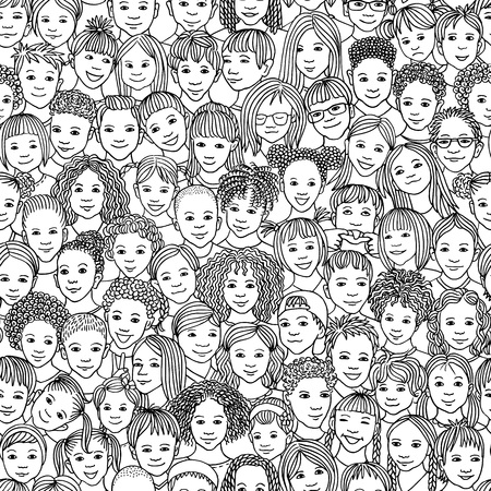 Diverse group of children - seamless pattern of 70 different hand drawn kids' faces, kids and teens of diverse ethnicity Stok Fotoğraf - 117796482
