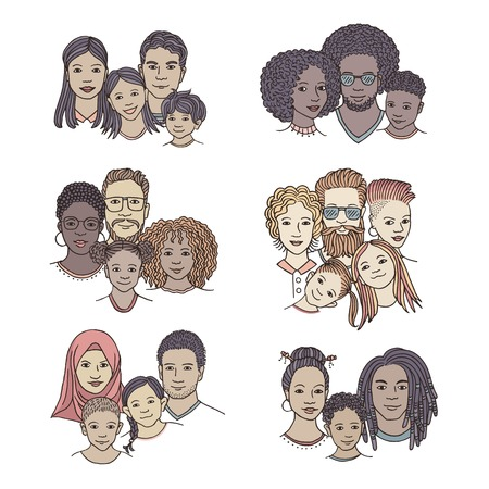 Hand drawn family portraits, parents and children from diverse ethnicities