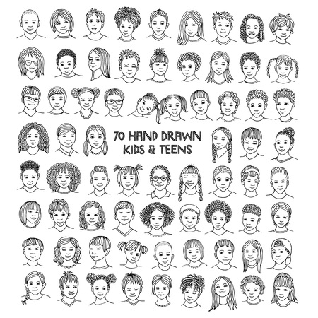Set of seventy hand drawn childrens faces, diverse portraits of kids and teens of different ethnicities