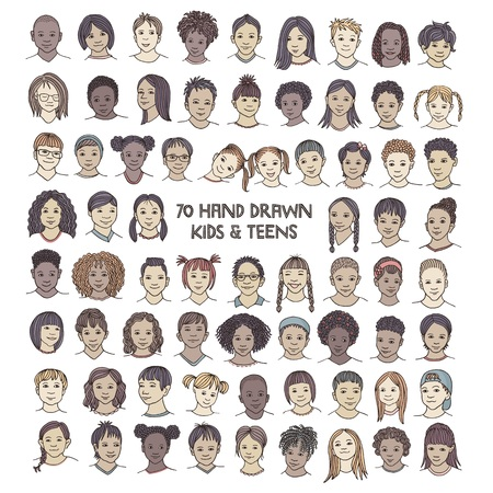Conjunto de setenta rostros de niños dibujados a mano, retratos coloridos y diversos de niños y adolescentes de diferentes etnias