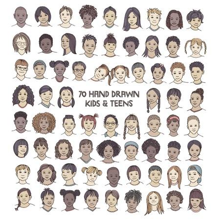 Zestaw siedemdziesięciu ręcznie rysowanych dziecięcych twarzy, kolorowych i różnorodnych portretów dzieci i nastolatków z różnych grup etnicznych