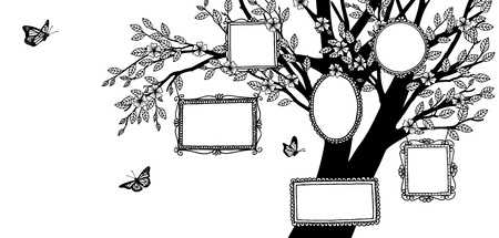 Ilustración dibujada a mano de un árbol genealógico, pancarta con árbol y marcos de fotos vacíos