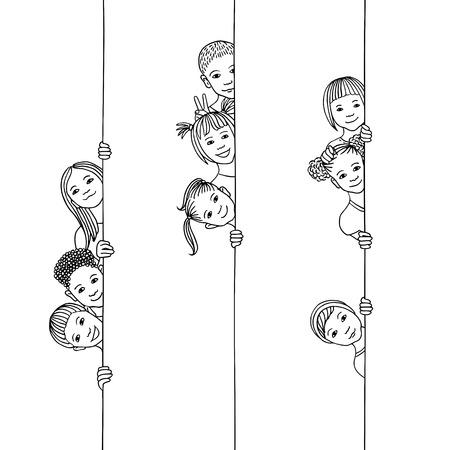 Handgezeichnete Illustration von jungen und vielfältigen Kindern, die um die Ecke schauen Vektorgrafik