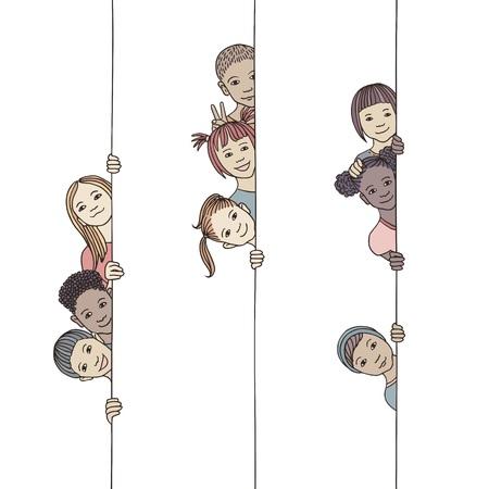 Ręcznie rysowane ilustracja młodych i różnorodnych dzieci patrzących za rogiem