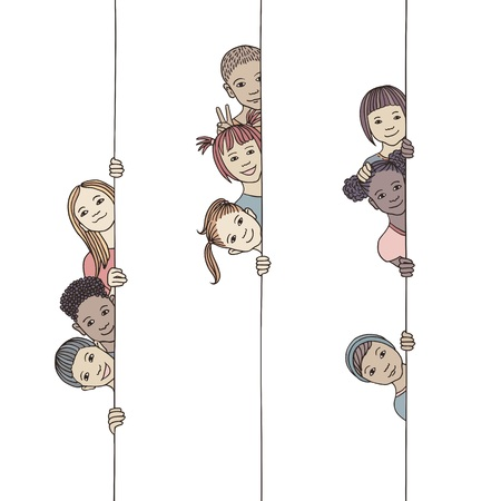 Hand drawn illustration of young and diverse children looking around the corner