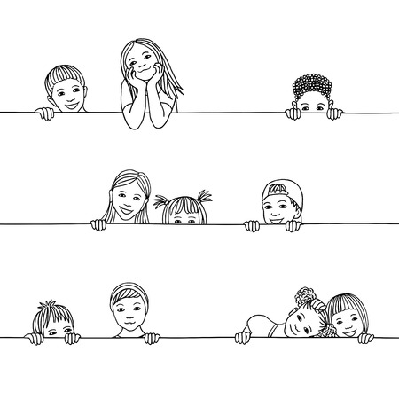 Hand drawn illustration of diverse children peeking behind a horizontal line Illustration