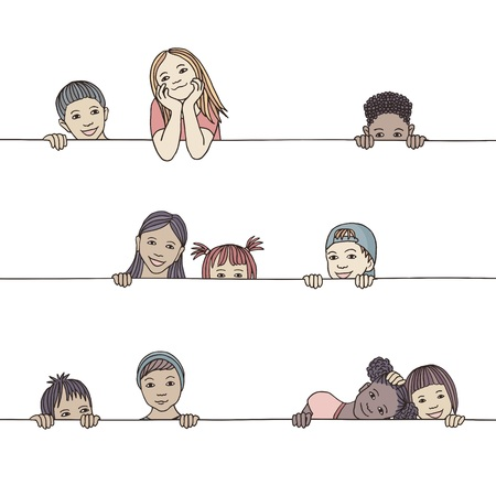 Hand drawn illustration of diverse children peeking behind a horizontal line 矢量图像