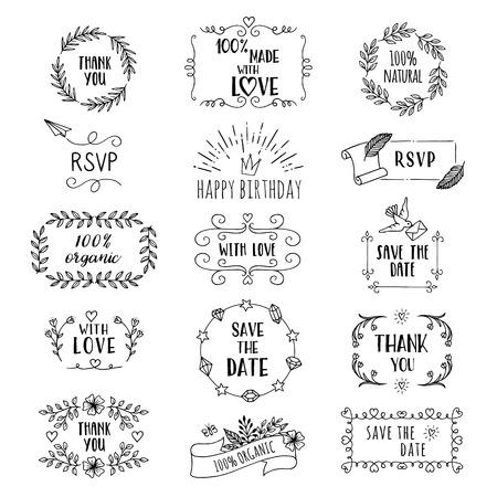 Handgezeichnete niedliche florale Logo-Vorlagen mit verschiedenen Texten