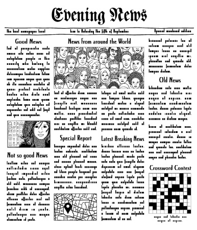 Fake newspaper with unreadable text and hand drawn illustrations