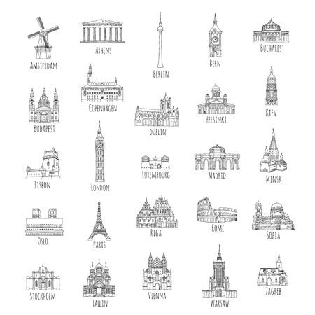 Zestaw 25 ręcznie rysowanych zabytków z różnych stolic europejskich, ilustracje czarnym tuszem Ilustracje wektorowe