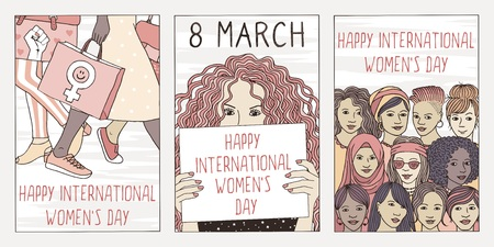 Set of three hand drawn posters or postcards for international womens day, showing portraits of diverse women Illustration