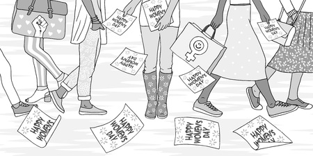Ilustración de mujeres jóvenes caminando en la calle en el día internacional de la mujer, niña distribuyendo volantes que dicen Feliz Día de la Mujer Ilustración de vector