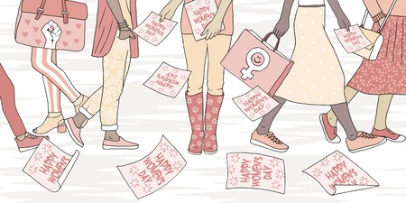 Illustration of young women walking in the street on international womens day, girl distributing flyers that say Happy Womens Day