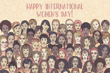 Banner per la giornata internazionale della donna - una varietà di volti di donne provenienti da tutto il mondo, diversi gruppi di donne disegnate a mano