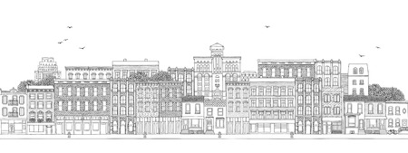 Horizontal banner with various buildings of a large town, city skyline with hand drawn houses, real estate background
